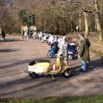 14 scoots ready to go for brekkie in Haslemere